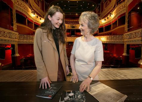 Gráinne Good, who is playing Sive in Druid's new production in the Gaiety, with Margaret Ward who played Sive in the very first production of the same play in 1959. Photo: Photocall