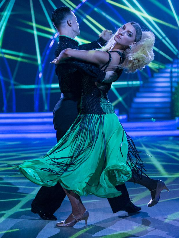 Model Alannah Beirne and Kai Widdrington during the Switch Up Live show of RTE's Dancing with the Stars. kobpix/NO FEE for repro.
