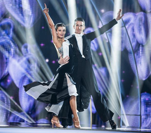 Olympic Athlete Robert Heffernan and Ksenia Zsikhotska,during the Switch Up Live show of RTE's Dancing with the Stars. kobpix/NO FEE for repro.