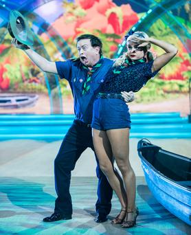 RTE's Marty Morrissey and Emily Barker,during the Switch Up Live show of RTE's Dancing with the Stars. kobpix