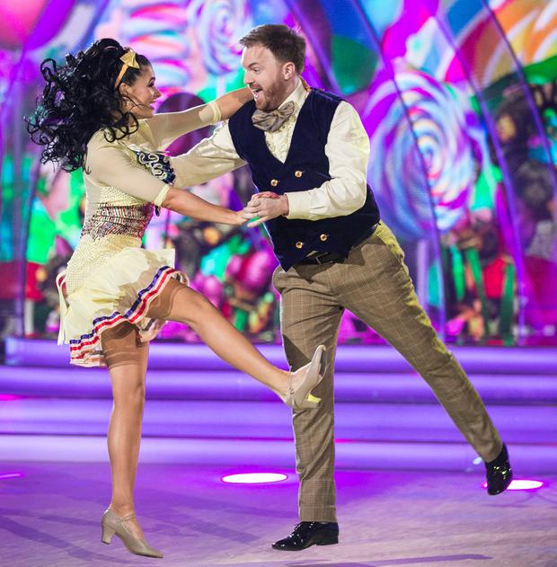Broadcaster and Comedian Bernard O'Shea and Karen Byrne ,during the Switch Up Live show of RTE's Dancing with the Stars. kobpix/NO FEE for repro.