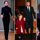 (L to R) Victoria Beckham, David and Harper Beckham, Victoria kisses son Romeo after her NYFW show