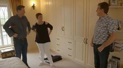 Dermot Bannon, Majella O'Donnell, and Daniel O'Donnell on the first episode of Room to Improve, RTE