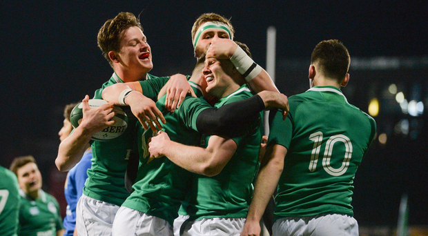 9 February 2018; Ireland players, from left, Jack Dunne, James McCarthy, Cormac Daly, Peter Sullivan and Harry Byrne, celebrate their first try scored by James McCarthy, during the U20 Six Nations Rugby Championship match between Ireland and Italy at Donnybrook Stadium, in Dublin. Photo by Piaras Ó Mídheach/Sportsfile