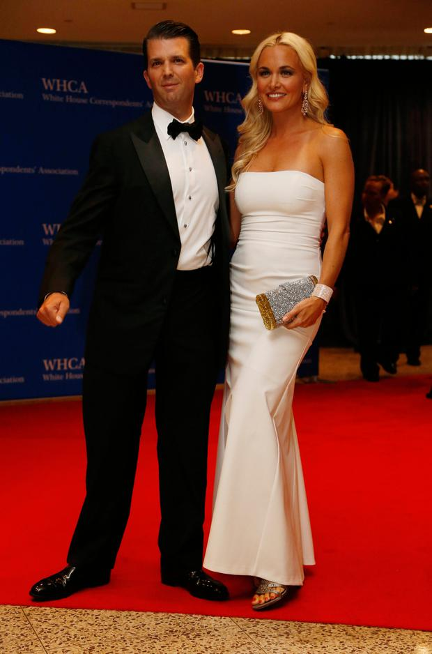 Donald Trump Jr. and wife Vanessa arrive on the red carpet for the annual White House Correspondents Association Dinner in Washington, US on April 30, 2016. Photo: Reuters Jonathan Ernst