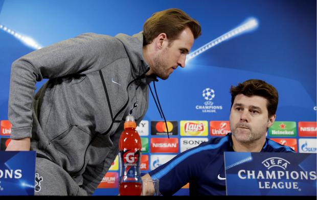 Harry Kane and Mauricio Pochettino at yesterday's press conference in Turin. Photo: Reuters
