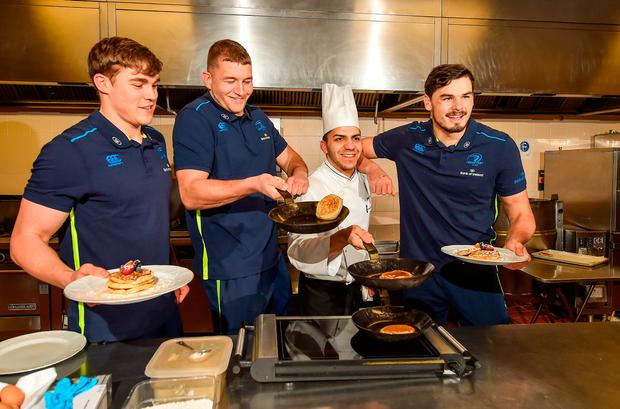 Leinster's Garry Ringrose, Ross Molony, sous chef Daniel Jinariu and Max Deegan at the InterContinental Hotel yesterday. Photo by Seb Daly/Sportsfile