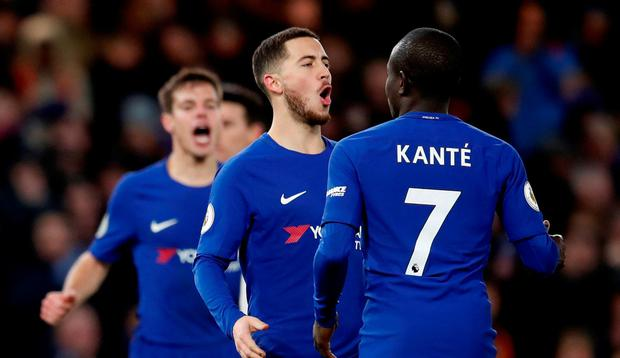 Chelsea's Eden Hazard celebrates scoring their third goal with N'Golo Kante