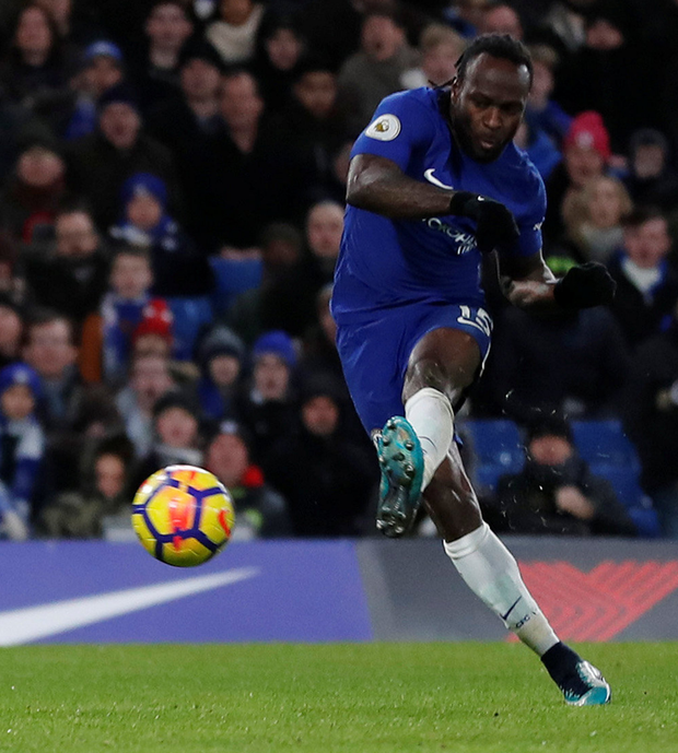 Victor Moses scores Chelsea's second goal during his team's victory against West Brom. Photo: Reuters