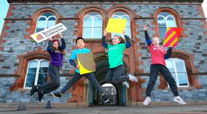 Central Model Senior School pupils Tia Fitzgerald (12), Hungbo Chen (7), Tamzin Kelly (12) and Katie Ellen McEvoy (12) at the Creative Schools launch. Inset: Richard Bruton and Josepha Madigan Photos: Frank McGrath