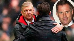 Arsene Wenger after Tottenham defeat and (inset) Jamie Carragher