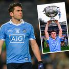 Bernard Brogan in action against Kildare and (inset) with Sam Maguire last summer