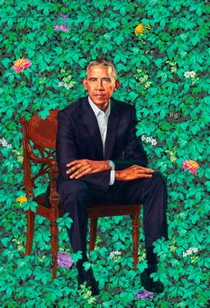 This image provided by the National Portrait Gallery, Smithsonian Institution is of the official portrait of former President Barack Obama, released Monday, Feb. 12, 2018 in Washington. The portrait artist is Kehinde Wiley. (Kehinde Wiley/National Portrait Gallery via AP)