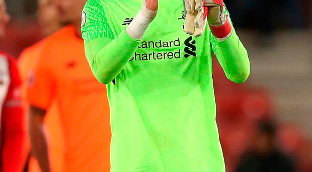 Liverpool goalkeeper Loris Karius after the final whistle against Southampton