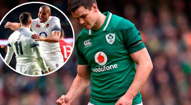 Ireland's Johnny Sexton and (inset) England's Jonny May celebrates