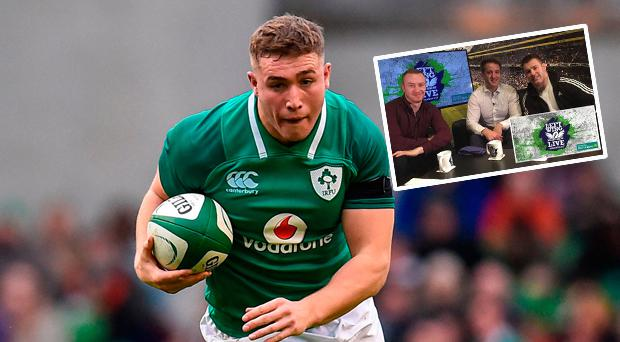 Jordan Larmour in action against Italy and (inset) Sean O'Brien with Luke Fitzgerald and Will Slattery in Independent.ie studios for the Left Wing LIVE