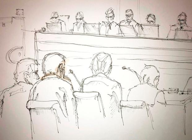 Court sketch shows the trial against the terror suspect, Uzbekistan citizen Rakhmat Akilov, who is suspect for terror attack in the central parts of Stockholm in April last year, in Stockholm, Sweden February 13, 2018. TT News Agency/Johan Hällnäs via REUTERS