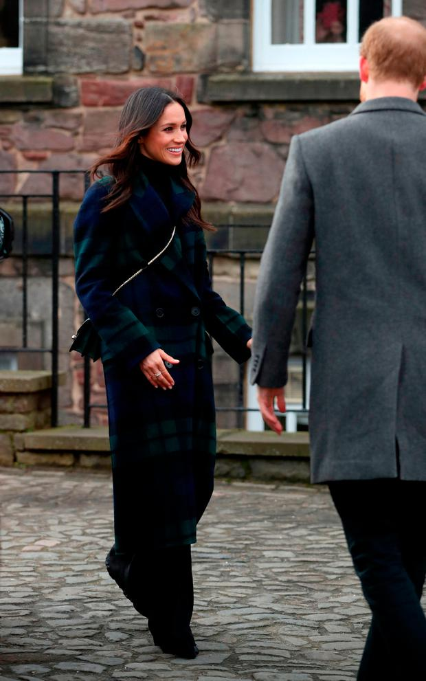 Prince Harry and Meghan Markle at Edinburgh Castle, during a visit to Scotland