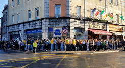 A queue forms for Donegal Tuesday. PIC: @CladdaghSwan/Twitter