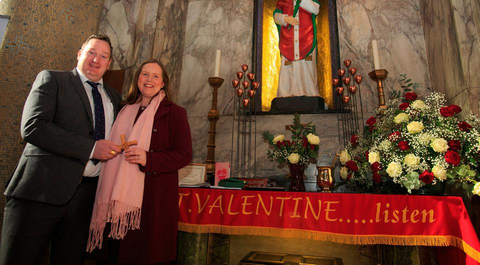 13/02/2018 Engaged couple Anna Keegan from Glenageary in Dublin and Mr Seamus Walsh from Ballycastle Mayo during a celebration of the Feast of Saint Valentine where a blessing of the engaged couple took place at the Shrine of the holy relics of Saint Valentine in Our Lady of Mount Carmel, Whitefriar Street Church. Photo Gareth Chaney Collins