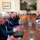 Secretary of State for Northern Ireland Karen Bradley pictured meeting with the Prime Minister Theresa May and Irish Taoiseach Leo Varadkar inside Stormont House. Photo: Kelvin Boyes / Press Eye.
