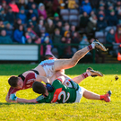 Judging by Cillian O'Connor's intensity last weekend, shown tussling with Eoghan Kerin of Galway, players value the league Photo: Diarmuid Greene/Sportsfile