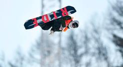 Seamus O'Connor in action during the half-pipe qualifying on day four of the Winter Olympics at the Phoenix Snow Park in Pyeongchang, South Korea. Photo: Ramsey Cardy/Sportsfile