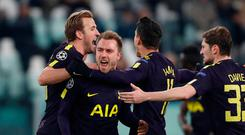 Soccer Football - Champions League - Juventus vs Tottenham Hotspur - Allianz Stadium, Turin, Italy - February 13, 2018 Tottenham's Christian Eriksen celebrates scoring their second goal with Harry Kane, Erik Lamela and Ben Davies. Action Images via Reuters/Paul Childs