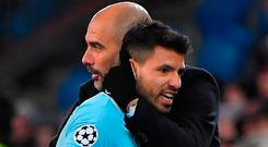 Manchester City's Sergio Aguero is congratulated by Pep Guardiola Photo: PATRICK HERTZOG/AFP/Getty Images
