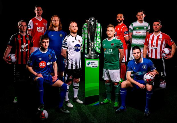 Derek Pender (Bohemians), Ian Bermingham (St Patrick's Ath), John Martin (Waterford), Hugh Douglas (Bray Wds), Stephen O'Donnell (Dundalk), Conor McCormack (Cork City), Rafael Cretaro (Sligo Rovers), Eoin Wearen (Limerick), Trevor Clarke (Shamrock Rovers) and Gavin Peers (Derry City) at the launch of the SSE Airtricity League. Photo: Sam Barnes/Sportsfile