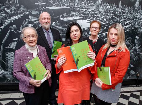 At the launch of the Children's Rights Alliance Report Card 2018 were: Tanya Ward, chief executive of the Children's Rights Alliance; Judge Catherine McGuinness, former member of the Supreme Court of Ireland; Fergus Finlay, chief executive of Barnardos; Independent Senator Lynn Ruane; and Noeline Blackwell, chief executive of the Dublin Rape Crisis Centre. Photo: Marc O'Sullivan