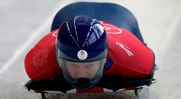 Jerry Rice of Britain starts his practice run during the men's skeleton training at the 2018 Winter Olympics in Pyeongchang