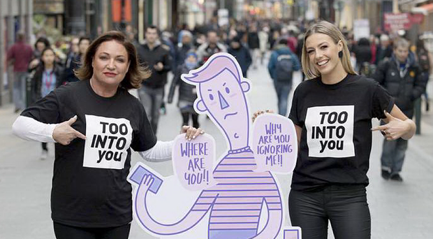 Norah Casey and Bláthnaid Treacy at the launch of the #TooIntoYou campaign Photo: Paul Sharp/SHARPPIX
