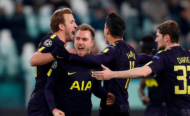 Tottenham's Christian Eriksen celebrates scoring their second goal with Harry Kane, Erik Lamela and Ben Davies. Action Images via Reuters/Paul Childs
