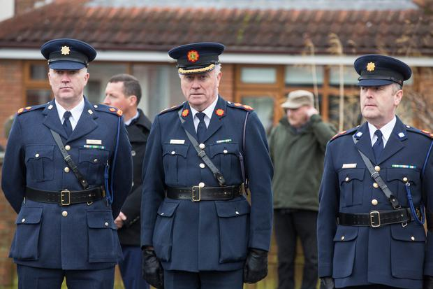 Acting Garda Commissioner Dónall Ó Cualáin at the funeral mass in Malahide of Detective Superintendent Colm Fox, who died at the weekend. Pic:Mark Condren