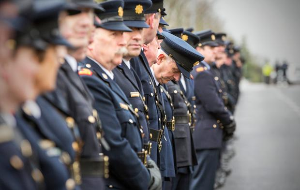 Gardai at the funeral mass in Malahide of Detective Superintendent Colm Fox, who died at the weekend. Pic:Mark Condren