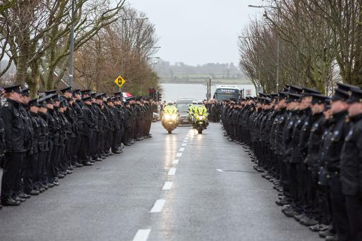 The hearse carrying Detective Superintendent Colm Fox from his funeral mass in Malahide, Dublin Pic:Mark Condren
