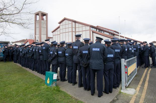 Members of the Gardai during the funeral of Garda Detective Superintendent Colm Fox at the Church of The Sacred Heart, Seabury, Malahide, Dublin. Photo Gareth Chaney Collins