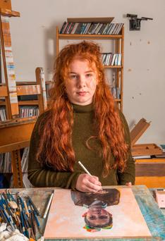 Artist at work: Hetty Lawlor in her home in Kilmeena, Co Mayo.Photo: Michael Mc Laughlin