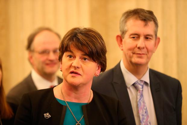 DUP's Arlene Foster speaking to the media at Stormont Parliament buildings Photo: Niall Carson/PA Wire