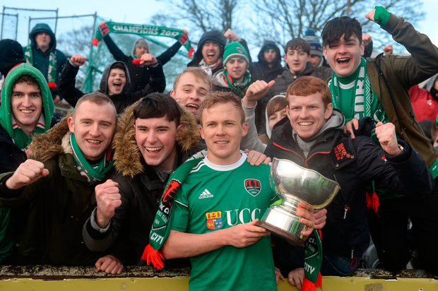 11 February 2018; Cork City captain Conor McCormack celebrates with supporters following his side's victory during the President's Cup match between Dundalk and Cork City at Oriel Park in Dundalk, Co Louth. Photo by Seb Daly/Sportsfile
