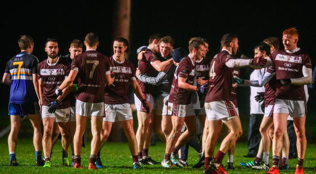 14 February 2018; NUIG players celebrate following the Electric Ireland HE GAA Sigerson Cup Semi-Final match between NUI Galway and Dublin Institute of Technology at St Lomans in Mullingar, Co Westmeath. Photo by Sam Barnes/Sportsfile