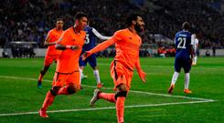 Soccer Football - Champions League Round of 16 First Leg - FC Porto vs Liverpool - Estadio do Dragao, Porto, Portugal - February 14, 2018 Liverpool's Mohamed Salah celebrates scoring their second goal with Roberto Firmino Action Images via Reuters/Matthew Childs