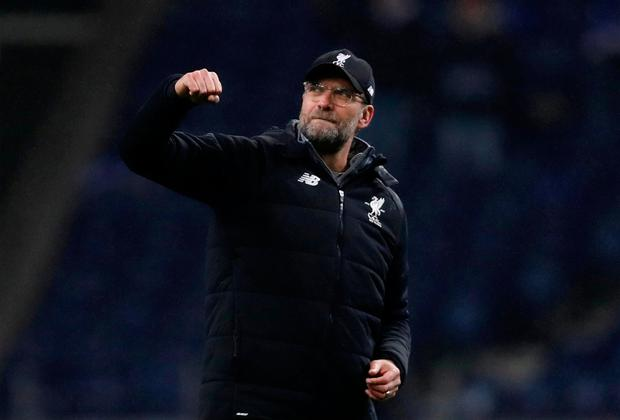 Soccer Football - Champions League Round of 16 First Leg - FC Porto vs Liverpool - Estadio do Dragao, Porto, Portugal - February 14, 2018 Liverpool manager Juergen Klopp celebrates at the end of the match Action Images via Reuters/Matthew Childs