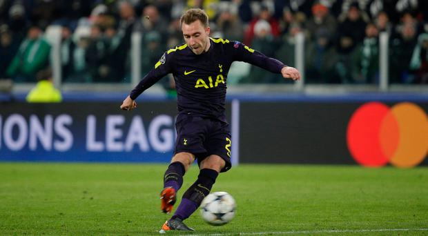 Christian Eriksen scores the equaliser for Tottenham in their 2-2 draw against Juventus in Turin Photo: REUTERS/Max Rossi