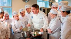 Food for thought: Chef Mairtin MacConlomaire prepares a dish of in front of his class at DIT Cathal Brugha Street in 2016. Photo: Tony Gavin