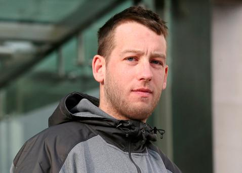 Darren Hoolahan (28) of Portland Row, Dublin 1 leaves the Dublin District Court this afternoon where he appeared in connection with driving related offences. Photo: Collins Courts.
