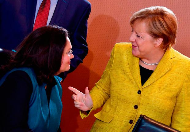 German Chancellor Angela Merkel talks to Andrea Nahles, who is expected to be named as the SPD's new leader in April. Photo: AFP/Getty Images