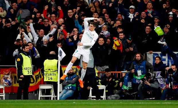 Cristiano Ronaldo celebrates his second goal of the night which secured a 3-1 victory for Real Madrid Photo: REUTERS/Stringer