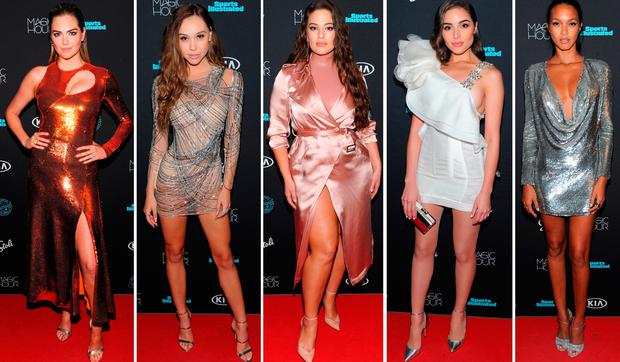 (L to R) Kate Uptn, Alexis Ren, Ashley Graham, Olivia Culpo and Lais Rabeiro